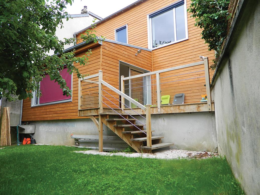 Maisons ossature bois ep charpente for Extension maison 3 murs
